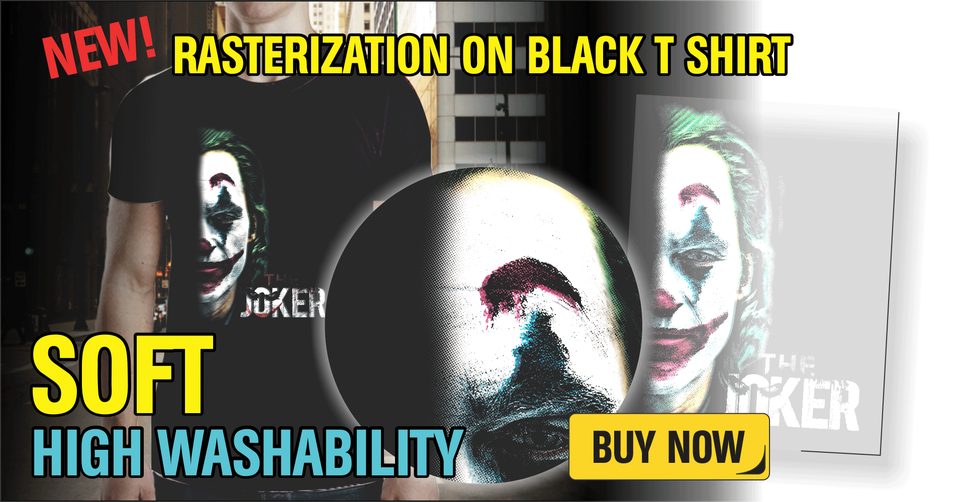 HD RASTERIZATION ON BLACK T SHIRT